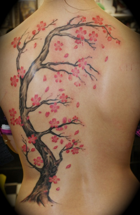 Cherry Blossom Tree Tattoo On Back For Women