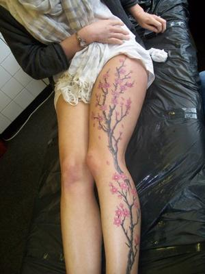 Cherry Blossoms Ankle Tattoo