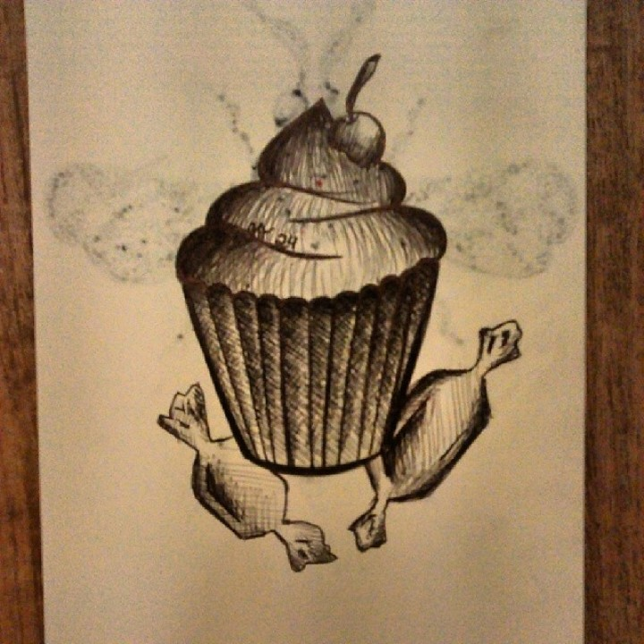Cherry Cup Cake Tattoo Sketch
