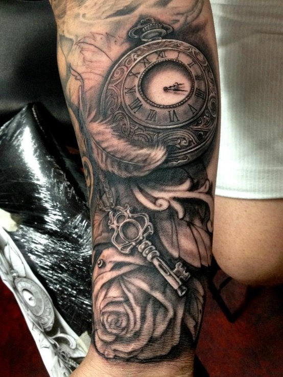 Cherub On Gears Clock And Rose Tattoos