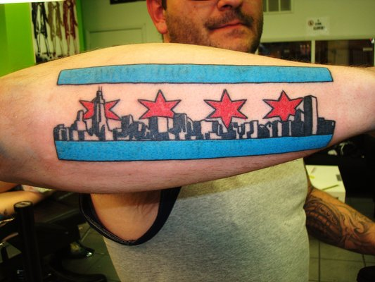 Chicago Flag Tattoo On Forearm