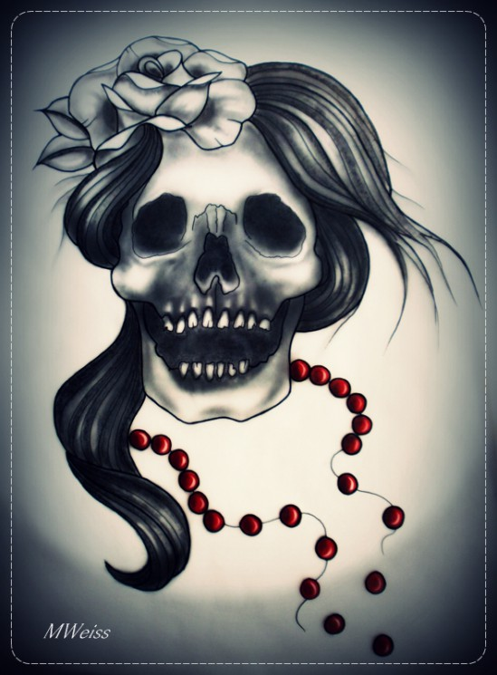 Chicano Girl Skull And Roses Tattoos On The Back