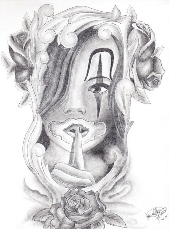 Chicano Girl Tattoo Drawing