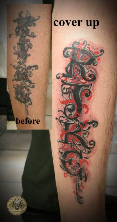 Chicano Lettering Leg Tattoo Design
