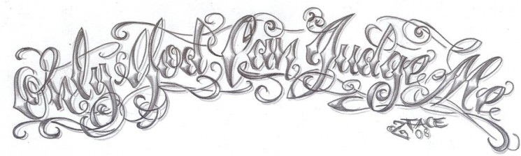 Chicano Lettering Tattoo On Arm
