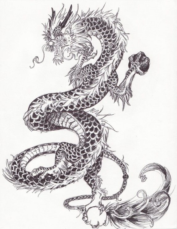 Chinese Dragon And Tiger Tattoos Sketch