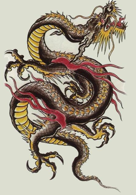 Chinese Dragon Tattoo On Upper Back