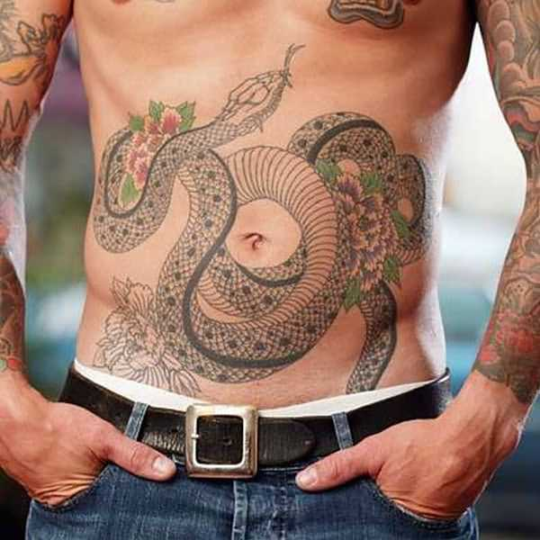 Chinese Snake Tattoo On Stomach