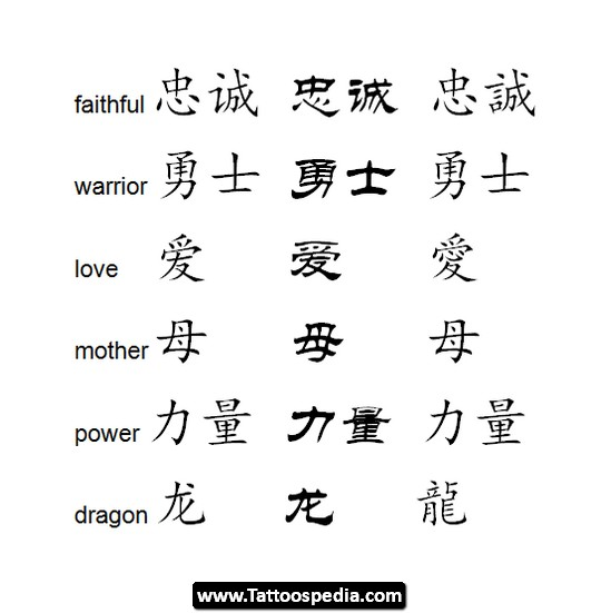 Chinese Symbol Tattoo Designs For Girls