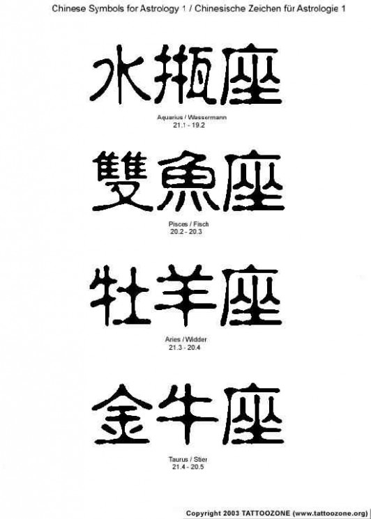 Chinese Symbol Tattoos Collection