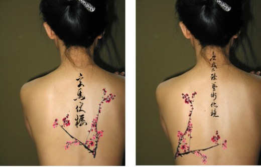 Chinese Symbols Tattoos On The Spine
