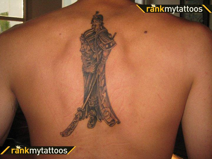 Chinese Warriors Tattoos On Back Body