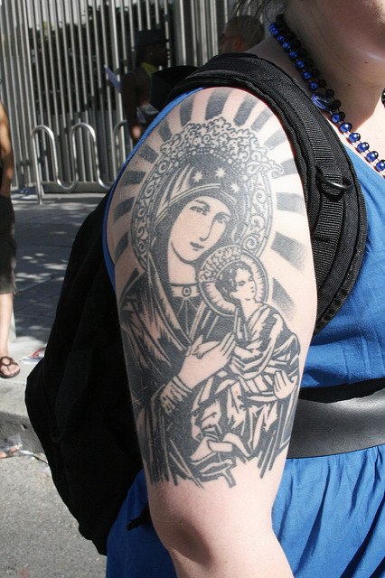 Christian Virgin Mary Tattoo On Full Back