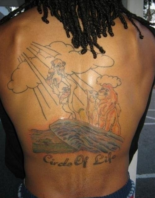 Circle Of Life Lion King Tattoo On Back