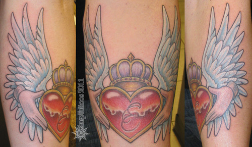 Claddagh Tattoo With Color Ink