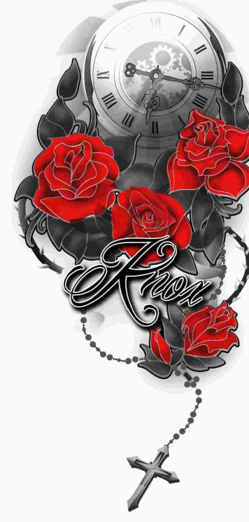 Clock Red Roses And Rosary Tattoos Design