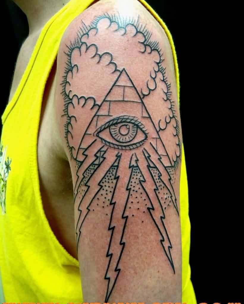clouds and illuminati eye pyramid tattoos on hand in 2017 real photo pictures images and. Black Bedroom Furniture Sets. Home Design Ideas
