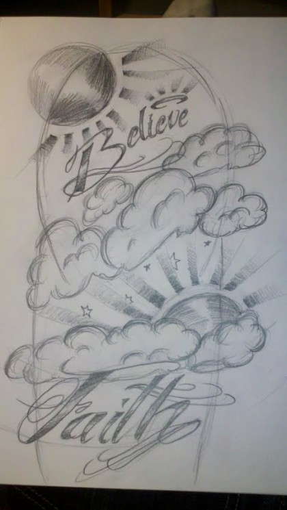 Clouds And Woman Tattoo Sketch