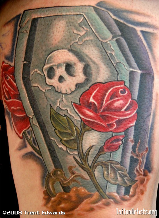 Coffin With Red Roses Tattoo Design