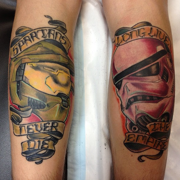 Color Banner And Helmet Tattoos