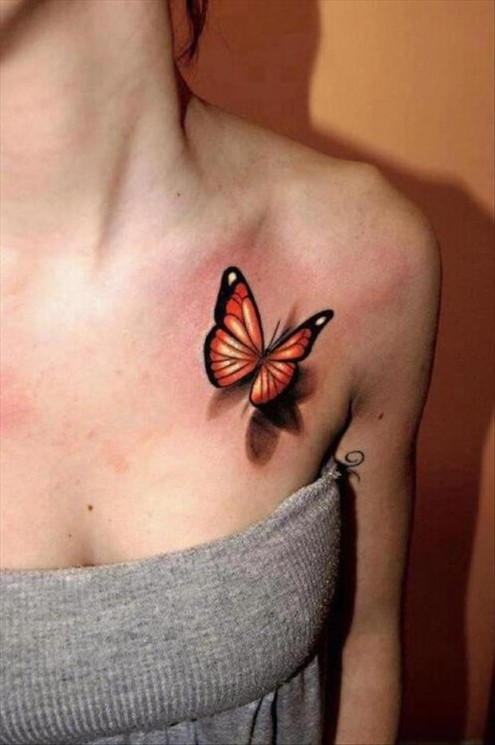Color Butterflies Tattoos On Collarbone And Upper Shoulder