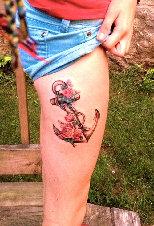 Color Ink Anchor Tattoo On Hand