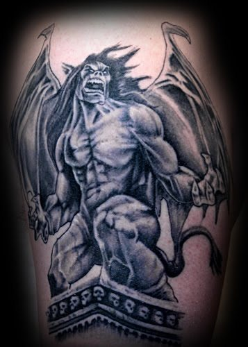 Color Ink Angry Gargoyle Tattoo On Shoulder
