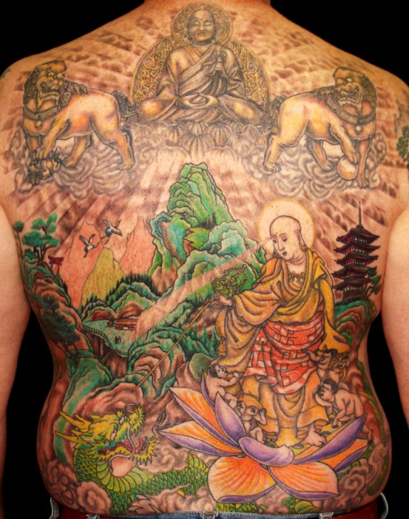Color Ink Asian Lady Tattoo For Back