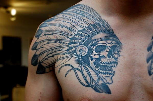 Color Ink Native American Skull Tattoo On Chest