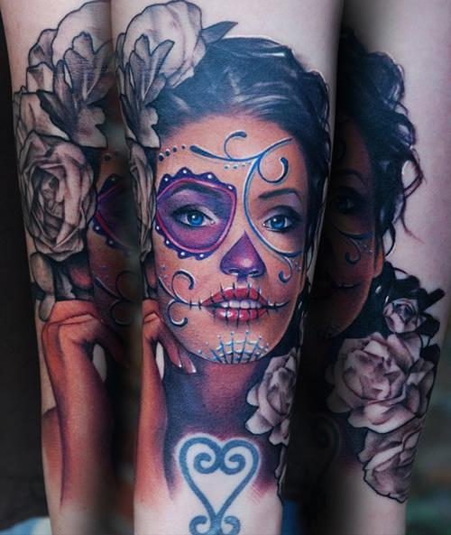 Color Ink Skull Tattoo On Stomach