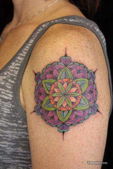 Color Ink Stained Glass And Rose Tattoos