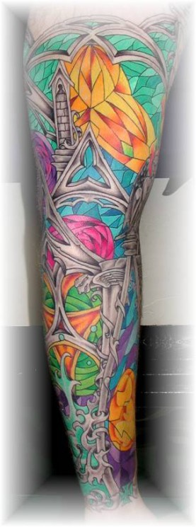 Color Ink Stained Glass Cross And Tree Tattoos On Back
