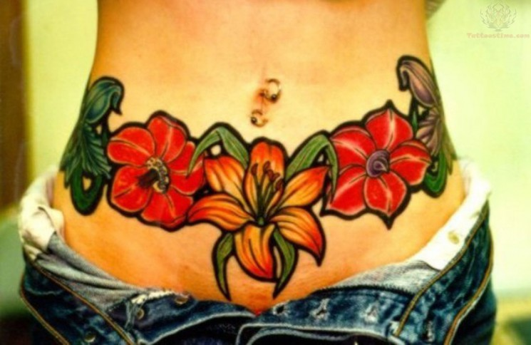Color Ink Video Game Tattoos On Belly