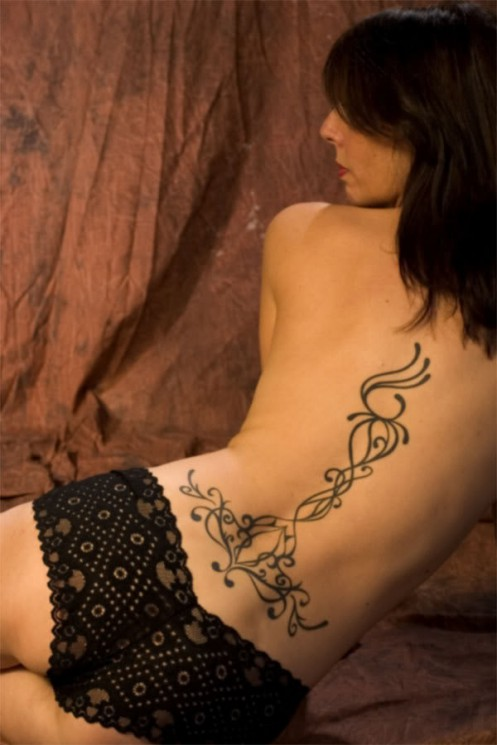 Color Ink Women Tattoos On The Back