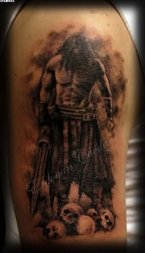 Color Spartan Warriors Fight Tattoo On Thigh