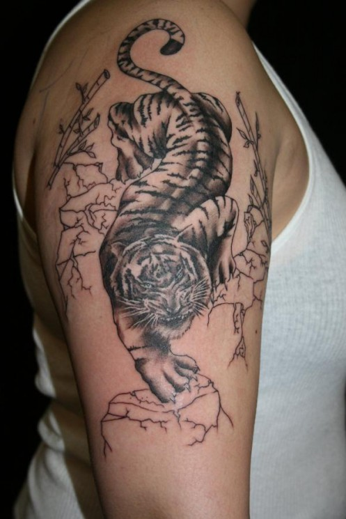Colored Chinese Tiger Tattoo On Half Sleeve