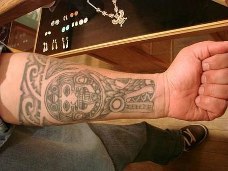 Colorful Aztec Tattoo For Arm