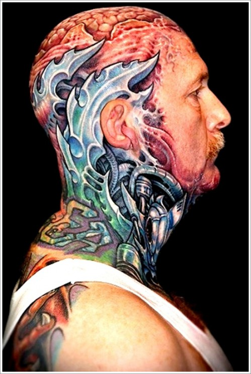 Colorful Biomechanical Tattoo For Guys