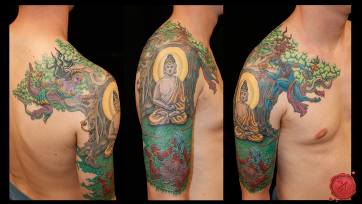Colorful Buddhist Tattoo On Shoulder
