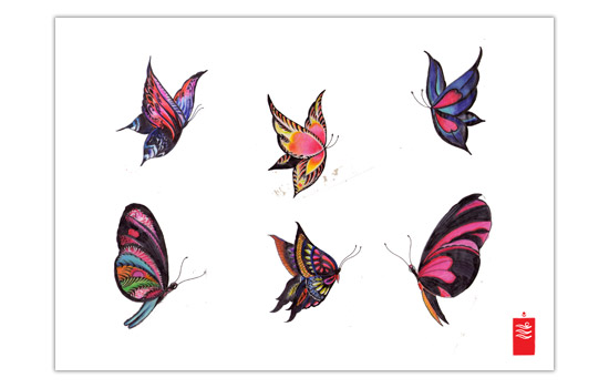 Colorful Butterflies Tattoo Designs On White Sheet