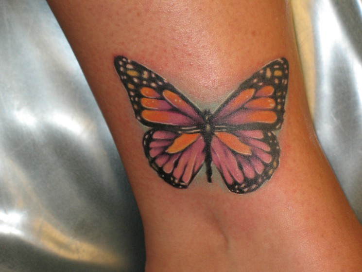Colorful Butterflies Tattoos On Stomach