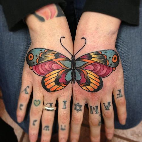 Colorful Butterfly Tattoo on Hand
