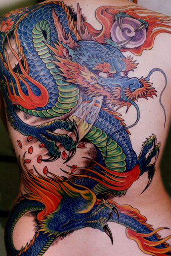 Colorful Chinese Snake Tattoo On Shoulder