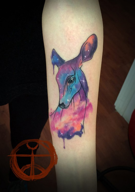 Colorful Deer Tattoo On Thigh