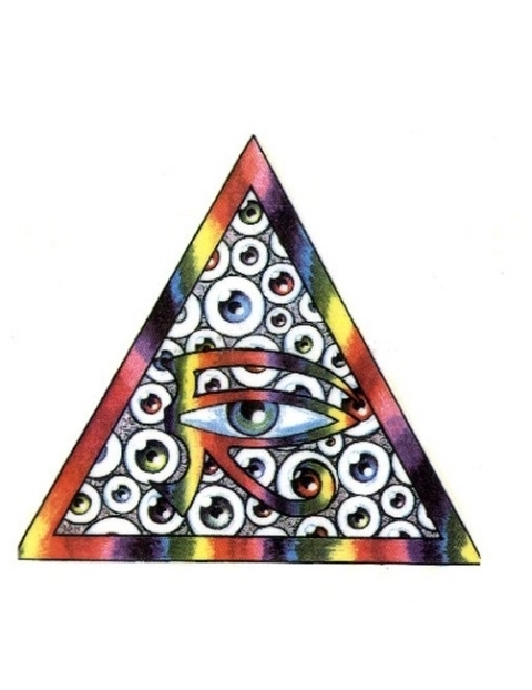 Colorful Eye Triangle Tattoo