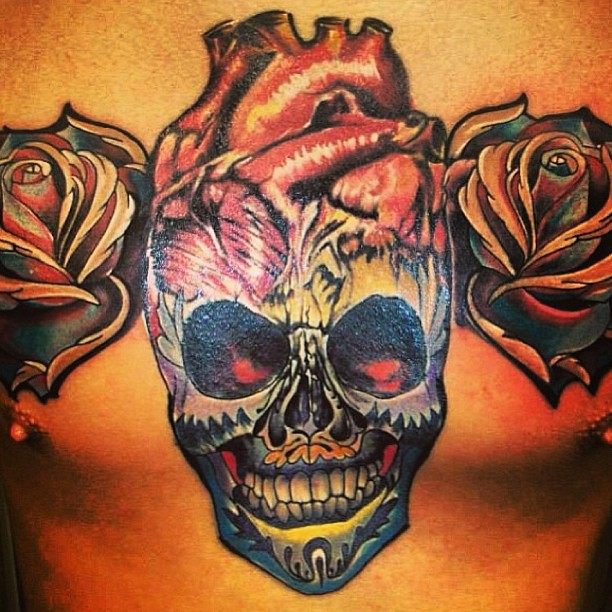 Colorful Flower Skull And Heart Tattoos