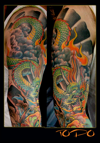 Colorful Flowers And Koi Dragon Sleeve Tattoos