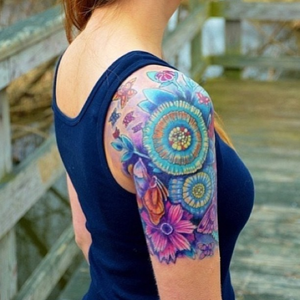 Colorful Girl Skeleton And Flowers Tattoos On Sleeve