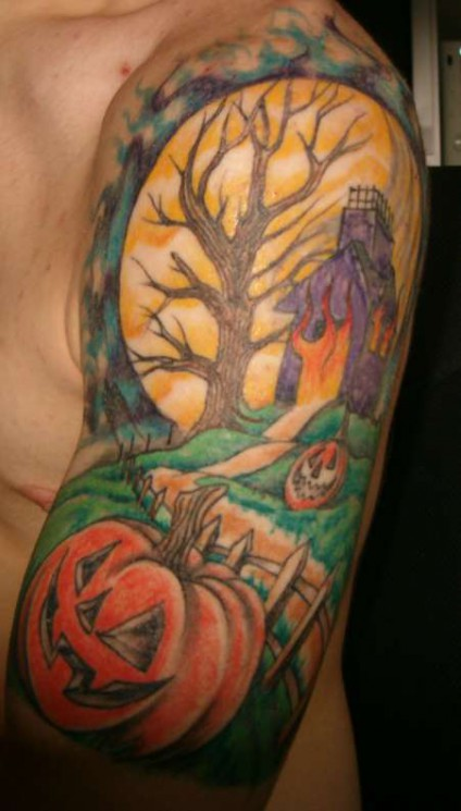Colorful Halloween Tattoo On Sleeve