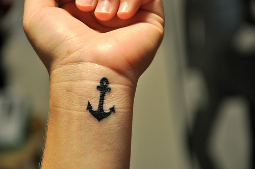 Colorful Hope Anchor Tattoo